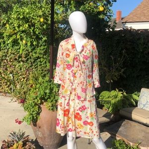 Merona White Floral Dress with Jacket Sz2